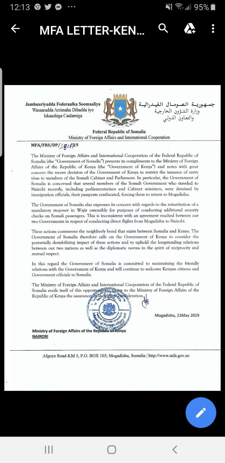SOMALIA RESPONDS TOKENYA