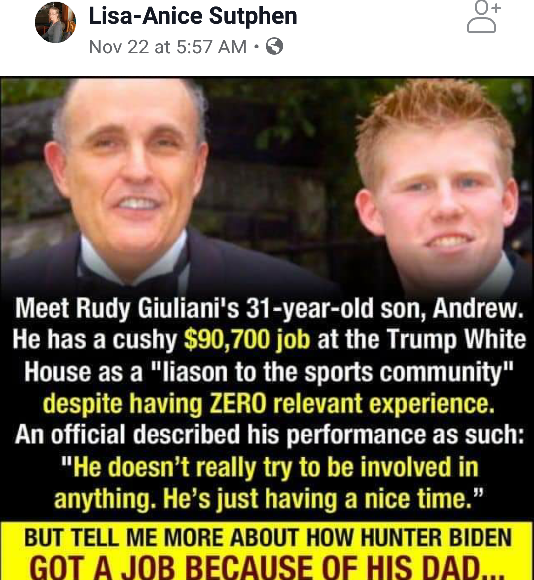 ON RUDY GIULIANI HYPOCRISY