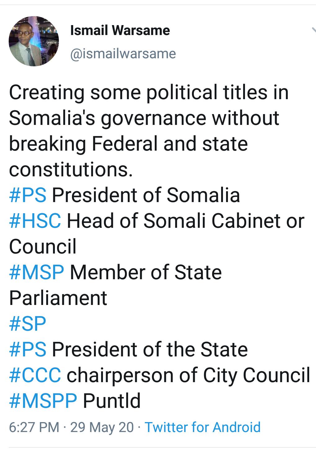 IN SOMALIA, WE NEED TO BE CREATIVETHINKERS.