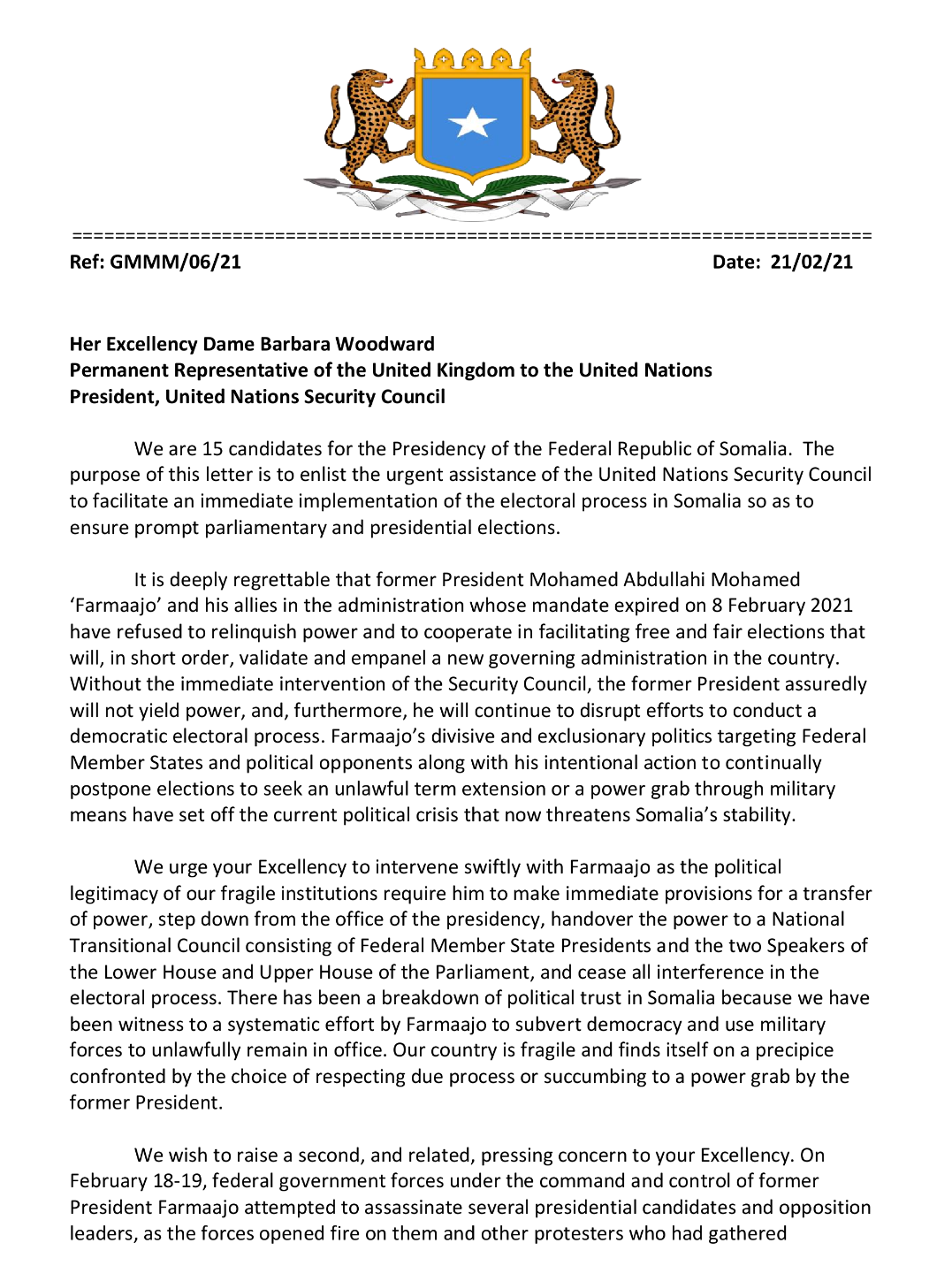POLITICAL LEADERS OF HAWIYE WROTE A LETTER TO UN DECRYING FARMAAJO'S OFFENSIVE